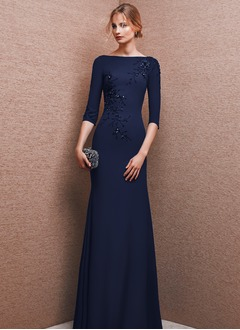 Sheath/Column Scoop Neck Floor-Length Charmeuse Evening Dress With Beading Sequins