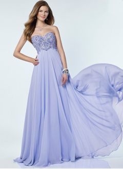 Empire Strapless Sweetheart Sweep Train Chiffon Prom Dress With Beading Appliques Lace