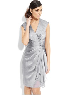 Sheath/Column V-neck Knee-Length Satin Chiffon Mother of the Bride Dress With Ruffle Cascading Ruffles