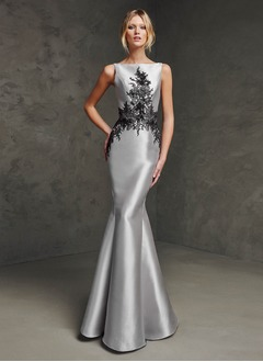 Trumpet/Mermaid Floor-Length Satin Evening Dress With Appliques Lace