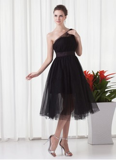 A-Line/Princess One-Shoulder Tea-Length Satin Tulle Prom Dress With Ruffle