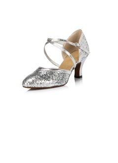 Women's Sparkling Glitter Heels Pumps Modern With Ankle Strap  ...