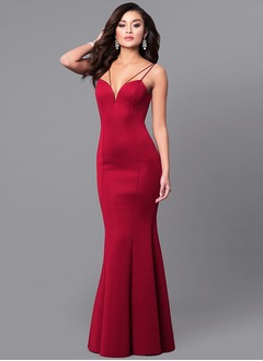 Trumpet/Mermaid V-neck Floor-Length Satin Prom Dress  ...