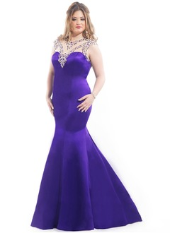 Trumpet/Mermaid Scoop Neck Floor-Length Satin Prom Dress With Beading