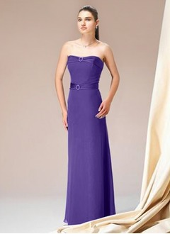 A-Line/Princess Strapless Sweetheart Floor-Length Chiffon Charmeuse Bridesmaid Dress
