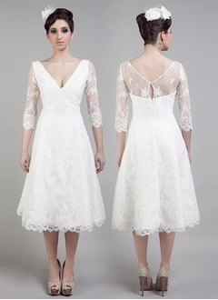 A-Line/Princess V-neck Tea-Length Lace Wedding Dress