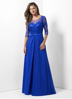 A-Line/Princess Scoop Neck Floor-Length Chiffon Lace Evening Dress With Ruffle Beading Appliques Lace