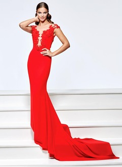 Trumpet/Mermaid Scoop Neck Court Train Charmeuse Evening Dress With Appliques Lace
