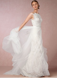 A-Line/Princess Off-the-Shoulder Sweep Train Tulle Lace Wedding Dress With Lace Beading