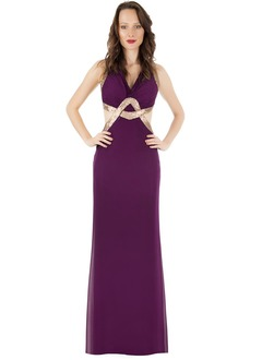Empire V-neck Floor-Length Chiffon Prom Dress With Sequins