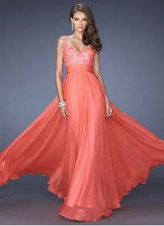 A-Line/Princess V-neck Floor-Length Charmeuse Lace 30D Chiffon Prom Dress With Appliques Lace