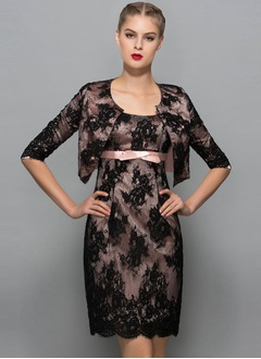 Sheath/Column Scoop Neck Knee-Length Lace Mother of the Bride Dress With Lace