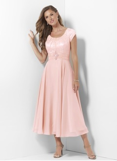 A-Line/Princess Scoop Neck Tea-Length Chiffon Satin Mother of  ...