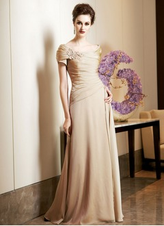 A-Line/Princess Off-the-Shoulder Floor-Length Chiffon Charmeuse Mother of the Bride Dress With Ruffle