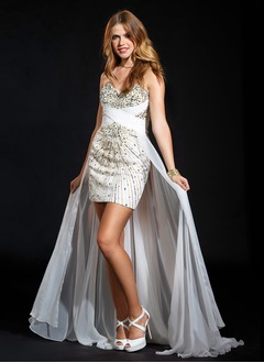 Sheath/Column Strapless Sweetheart Asymmetrical Chiffon Prom Dress With Ruffle Beading Sequins