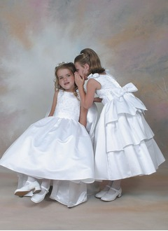A-Line/Princess Scoop Neck Ankle-Length Satin Flower Girl Dress With Beading
