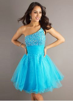 A-Line/Princess One-Shoulder Knee-Length Tulle Sequined Prom Dress With Ruffle Beading