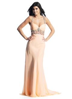 Trumpet/Mermaid Sweetheart Sweep Train Chiffon Prom Dress With Ruffle Beading