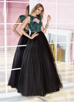 Ball-Gown Scoop Neck Floor-Length Satin Tulle Prom Dress With Sequins