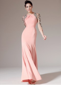 Trumpet/Mermaid Scoop Neck Floor-Length Chiffon Tulle Evening Dress With Ruffle Sequins