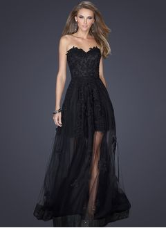 A-Line/Princess Strapless Sweetheart Floor-Length Tulle Lace Evening Dress With Appliques Lace