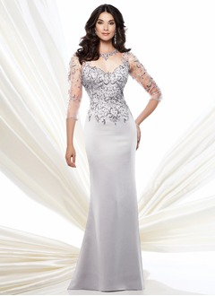 Trumpet/Mermaid Scoop Neck Sweep Train Satin Tulle Mother of the Bride Dress With Beading Appliques Lace