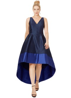 A-Line/Princess V-neck Asymmetrical Taffeta Evening Dress