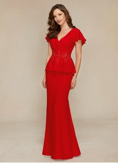 Sheath/Column V-neck Sweep Train Chiffon Evening Dress With Beading Appliques Lace