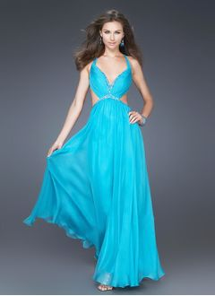 A-Line/Princess V-neck Floor-Length Satin Chiffon Homecoming Dress With Ruffle Beading Sequins