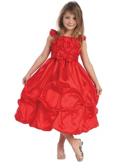 A-Line/Princess Scoop Neck Tea-Length Taffeta Flower Girl Dress