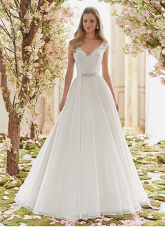 Ball-Gown V-neck Floor-Length Organza Wedding Dress With Beading Appliques Lace