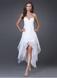 Empire Strapless V-neck Asymmetrical Chiffon Homecoming Dress With Ruffle Cascading Ruffles
