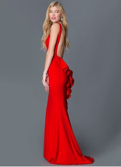 Trumpet/Mermaid Scoop Neck Sweep Train Jersey Evening Dress With Ruffle Cascading Ruffles