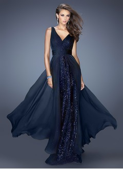 A-Line/Princess V-neck Floor-Length Chiffon Sequined Evening  ...