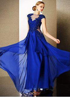 A-Line/Princess Scoop Neck Floor-Length Chiffon Tulle  ...
