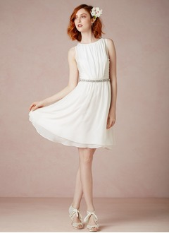A-Line/Princess Scoop Neck Knee-Length Chiffon Wedding Dress With Ruffle Beading
