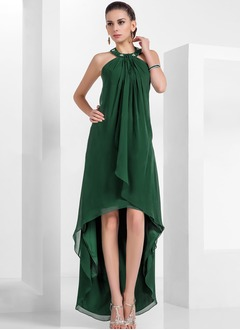 A-Line/Princess Halter Asymmetrical Chiffon Cocktail Dress With Beading