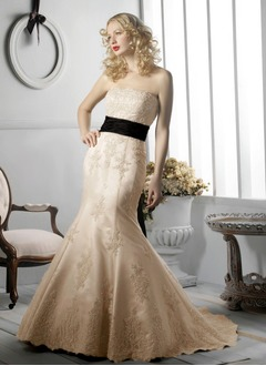 Trumpet/Mermaid Strapless Chapel Train Satin Wedding Dress With Lace Sash Beading Sequins