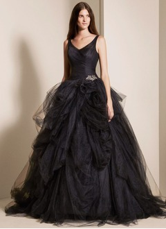 Ball-Gown V-neck Sweep Train Taffeta Tulle Wedding Dress With Ruffle Beading