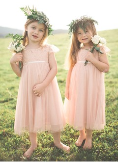 Empire Scoop Neck Tea-Length Tulle Flower Girl Dress With Lace