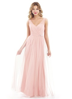 A-Line/Princess V-neck Floor-Length Tulle Bridesmaid Dress With Beading