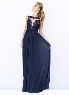 A-Line/Princess Scoop Neck Floor-Length Chiffon Prom Dress With Appliques Lace