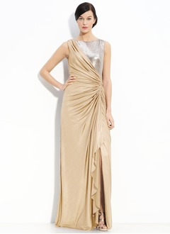 Sheath/Column Scoop Neck Floor-Length Chiffon Satin Chiffon Mother of the Bride Dress With Ruffle