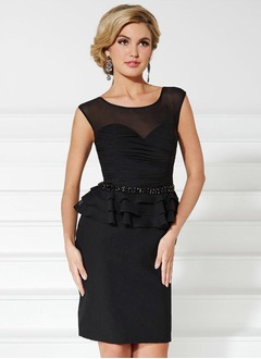 Sheath/Column Scoop Neck Short/Mini Chiffon Mother of the Bride Dress With Ruffle Beading Pleated
