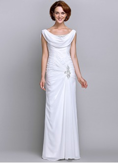 Sheath/Column Cowl Neck Floor-Length Chiffon Mother of the Bride Dress With Ruffle Beading (0085118321)