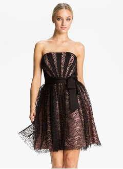 A-Line/Princess Strapless Short/Mini Charmeuse Lace Homecoming Dress With Ruffle Bow(s)
