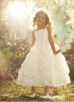 A-Line/Princess Strapless Ankle-Length Taffeta Flower Girl Dress With Ruffle Beading