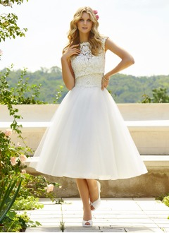 Ball-Gown Sweetheart Tea-Length Tulle Wedding Dress With Lace