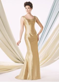 Trumpet/Mermaid Scoop Neck Sweep Train Taffeta Mother of the Bride Dress With Ruffle Beading Cascading Ruffles