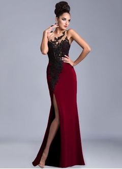 Sheath/Column Scoop Neck Floor-Length Jersey Evening Dress With Appliques Lace Split Front